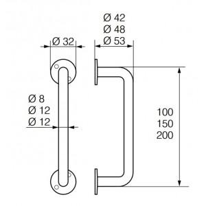 Ручка-скоба дверная 130/100-150-200 R