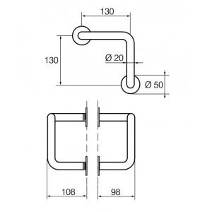 Ручка-скоба дверная DP 136 LK для открывания локтем