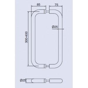 Ручка-скоба дверная Инокси 137-25/300-400 К