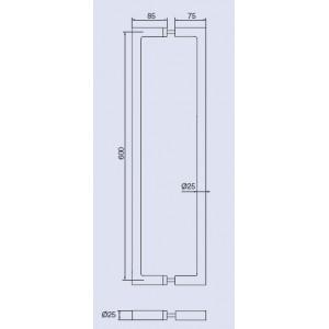 Ручка-скоба дверная Инокси 137s-25/400-600 К