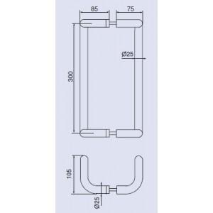 Ручка-скоба дверная Инокси 138-25/300-400-600 LК
