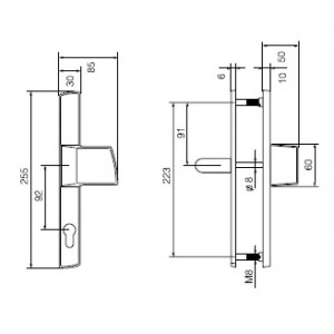 Ручка дверная Инокси 3-19/013 PZ+PZ