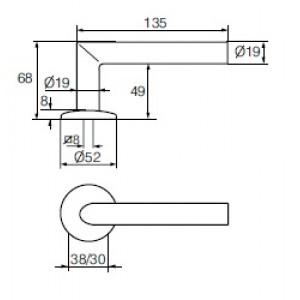 Ручка дверная Инокси 3-19ss/002