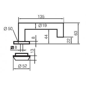 Ручка дверная односторонняя для эвакуационных выходов Инокси 3-19k/030